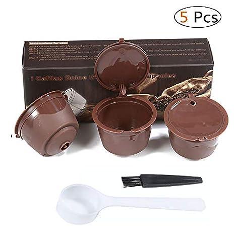 KOBWA 3 Pcs Filtros Cápsulas de Café Puede Rellenables Reutilizable para Cafetera Dolce Gusto con 1 Cucharón de Plástico y 1 Cepillo de Limpieza: Amazon.es: ...