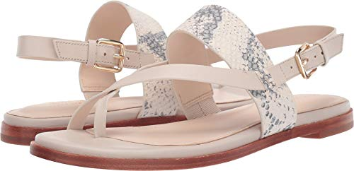Cole Haan Women's G.OS Anica Thong Sandal Ivory Roccia Print Leather/Pumice Stone Leather 8 B US