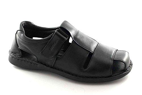 Grünland CLAP SA1354 hombre negro sandalia cerrada desgarrar la piel de punta Nero
