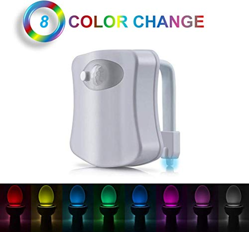 Toilet Sensor Light - 8 Color, Motion Activated Toilet Night Light, Splash Proof Advance Motion Activated LED, Motion Sensor Toilet Bowl LED Light with 5 Stage Dimmer for Toilet Lighting - White