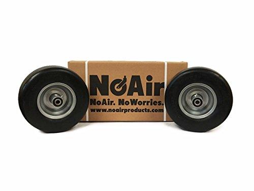 NoAir (2) Hustler Flat Free Wheel Assemblies 13x6.50-6 fits X One Super Z 604898 789537