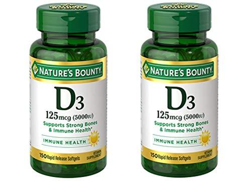 Nature's Bounty Vitamin D3 125mcg (5000 IU), 150 Rapid Release Softgels (Pack of 2)