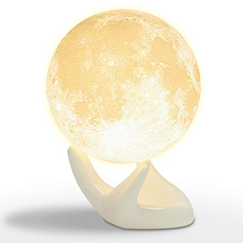 Mydethun Lamp Moon Night Light for Kids Gift for Women USB Charging and Touch Control Brightness 3D Printed Warm and Cool White, Hand Base, 3.5in Moonlight with -