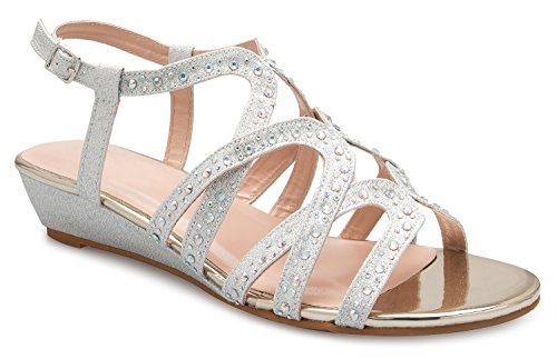 - OLIVIA K Women's Strappy Crisscross Cutout Ankle Strap Buckle Kitten Low Wedge Heel Sandals - Comfortable, Slingback