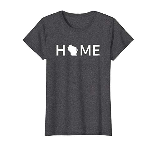 Womens Home In Wisconsin Love U.S. State Outline Silhouette T-Shirt Large Dark Heather -