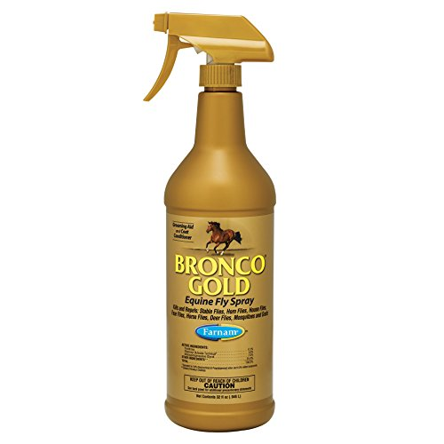 - Farnam Bronco Gold Equine Fly Spray; Kills and Repels Stable Flies, Horn Flies, House Flies, Face Flies, Horse Flies, Deer Flies,Mosquitoes and Gnats; Grooming Aid and Coat Conditioner; 32 Ounce