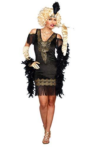 Dreamgirl Women's Swanky Flapper, Black/Gold, XL