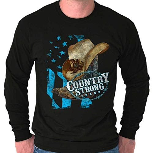 Brisco Brands Country Strong Hat Flag Patriotic Western Long Sleeve T Shirt