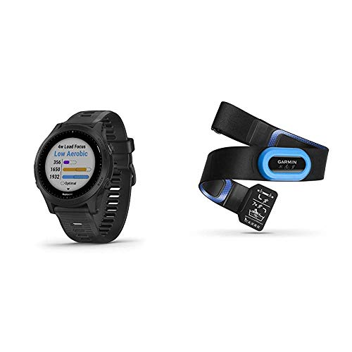 Garmin Forerunner 945, Premium GPS Running/Triathlon Smartwatch with Music, Black Bundle with Garmin HRM-Tri Heart Rate Monitor
