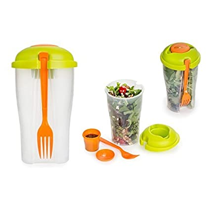 Genial Salad On The Go   Travel Size Portable Salad Bowl With Built In Dressing  Holder Includes
