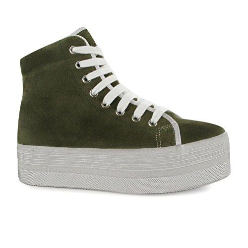 Jeffrey Campbell Homg Hi Tops Plattform Schuhe Damen Khaki/Weiß Sportschuhe Sneaker