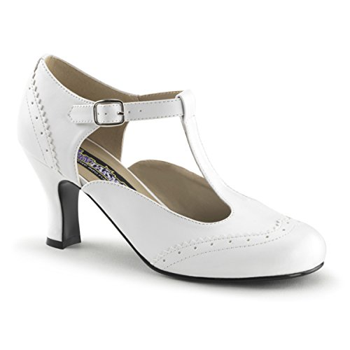 Womens Retro Inspired White 3 Inch Kitten Heels T-Strap Pump Shoes Size: 6