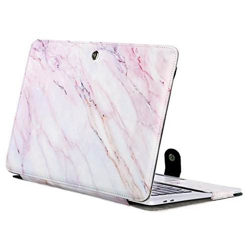(MOSISO PU Leather Case Compatible 2018 MacBook Air 13 A1932 Retina Display / 2018 2017 2016 MacBook Pro 13 A1989/A1706/A1708, Book Folio Protective Cover Stand Sleeve, Pink)
