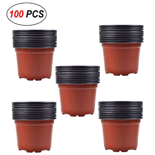 Coolrunner 100 PCS 4 Inch Plastic Flower Seedlings Nursery Pots Plant Container Seed Starting Pots