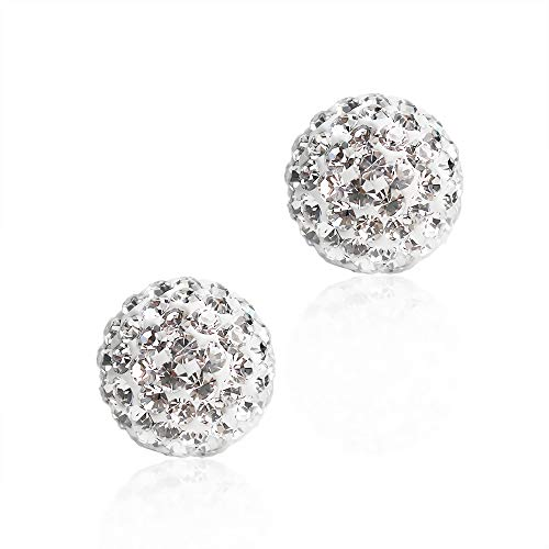 BAYUEBA 925 Sterling Silver Crystal Ball Stud Earrings 10mm Clear