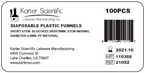 Karter Scientific 210S2 Natural PP Plastic Funnels, Short Stem, 65mm (Pack of 100)