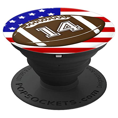 (American Football Player #14 Back No 14 Ball Pop Socket Gift - PopSockets Grip and Stand for Phones and Tablets)