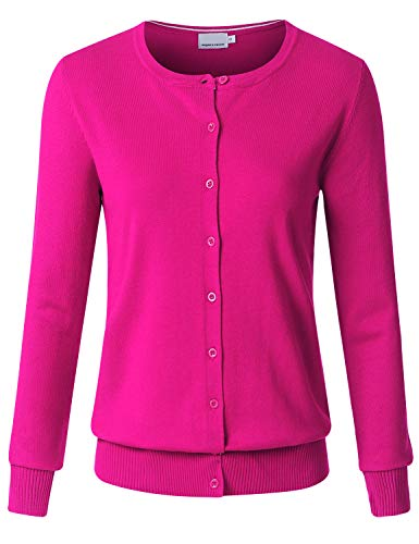 (JSCEND Women's Long Sleeve Button Down Crew Neck Soft Knit Cardigan Sweater HOTPINK L)