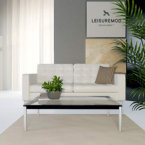 (LeisureMod Le Corbusier Style LC10 Glass Top Stainless Steel Rectangle Coffee Table)