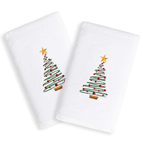 Linum Home Textiles TR00-2HT-TREE-2 Christmas Tree Embroidered Hand Towels (Set of 2), 2 Piece