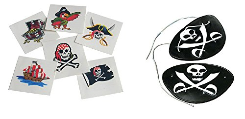 Pirate Tattoos & Eye Patch Toy Party Favor Supplies 156 Pieces Set for 12 (Pirate Theme Tattoos)