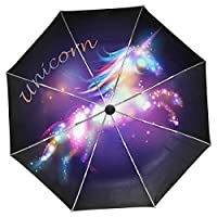 Wamika Galaxy Unicorn Umbrella Automatic Open Close Shining Stars Compact Umbrella Windproof Anti-UV Travel Umbrella Lightweight Parasol Umbrellas Sun & Rain