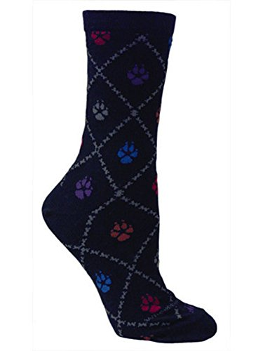 Wheel House Designs Pet Colorful Dog Paws Black Socks
