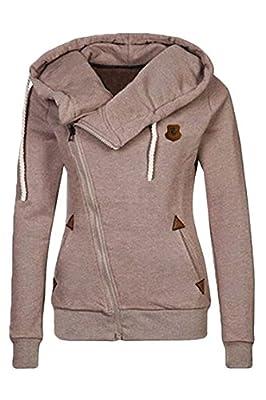 Cutiefox® Women's Plus Size Funnel Neck Zip Up Fleece Hoodie Jacket
