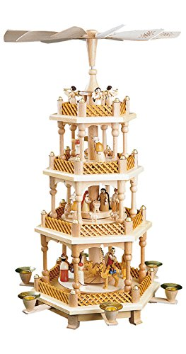 German christmas pyramid Nativity scene, 3-tier, height 54 cm / 21 inch, natural, original Erzgebirge by Richard Glaesser Seiffen