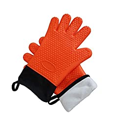 Youthm Youthm Kitchen Mitts Bbq Gloves High Temperature Resistant Washable Grill Golves And Pot Holder With Internal Cotton Lining Extra Long Pair Orange