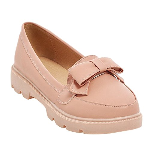 Carolbar Carol Shoes Women's Sweet Cute Flat Bows Platform Loafer Shoes Pink 8Zott