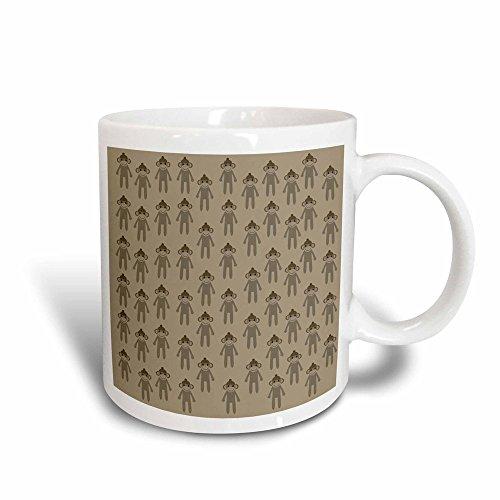 3dRose mug_178976_3 Brown Sock Monkeys Cute Animals Art Magic Transforming Mug, 11-Ounce