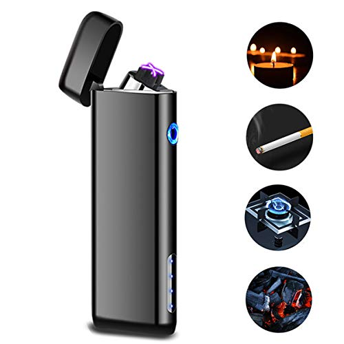 Cigarette Gas Lighter - Dual Arc USB Lighter Rechargeable, Electronic Plasma Windproof Lighters Cigar Candle Cigarettes Outdoor Camping No Oil No Gas Valentines Lighter Gift