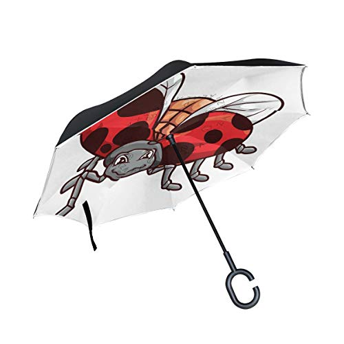Reverse Umbrella Ladybird Windproof Anti-UV for Car Outdoor Use