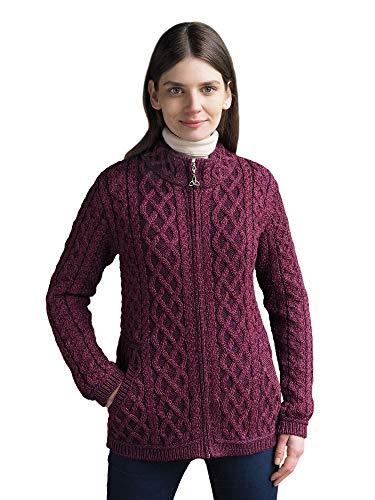 West End Knitwear Ladies Irish Merino Wool Plated Zip Cardigan Sweater (Large) (Irish Wool Sweater Cardigan)
