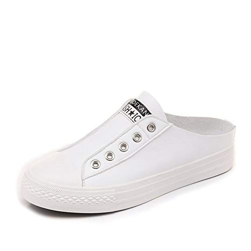 Women's White Shoes Canvas Slip Shoes Shoes unyielding1 Round Flat Flat Shoes Casual Shoes Canvas Non SqS1wC