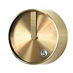 Time Concept 8 Round Minimal Wall Clock - Gold - Metal Steel Frame, Analog Time Display, Home Décor