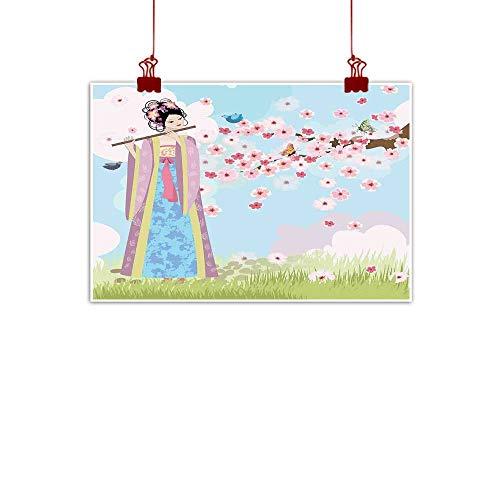 Garden Box Oriental Music - Canvas Prints Wall Art Music,Oriental Girl Near Cherry Blossoms Spring Petals Butterfly Grassland Japan Art,Rose Blue Green 24