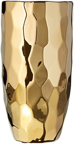 CosmoLiving by Cosmopolitan 42386 Small Ceramic Electroplated Metallic Gold Vase with Geometric