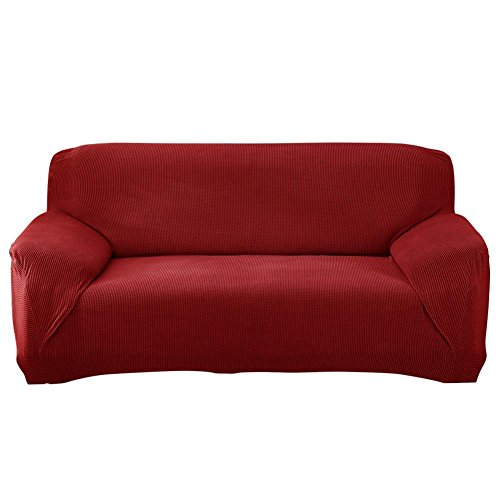 vanpower Red Knit All-Inclusive Slip-Resistant Sofa Cover Sl