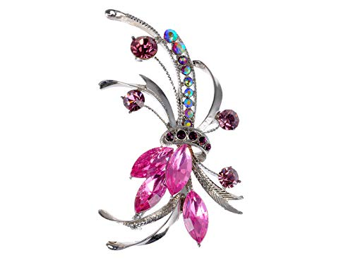 (Alilang Silver Tone Purple Pink Rhinestones Floral Bouquet Ribbon Brooch Pin)