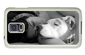 Hipster Samsung Galaxy S5 Cases custom Dog Girl Snooze PC White for Samsung S5