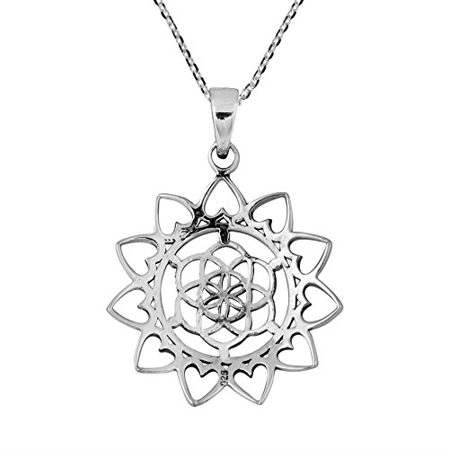 Sacred Geometry Lotus Flower Of Life Heart Sterling Silver Necklace