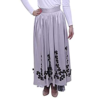 Hamsaalbaridi Grey Satin Pleated Skirt For Women