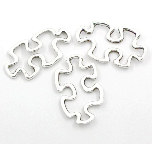 reness Puzzle Piece Charms Aspergers Silver Open 1-1/8in 30mm Package of 50 Charms ()