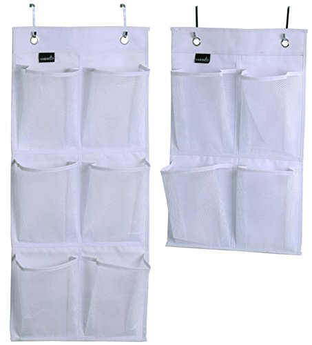 MISSLO Over Door Organizer for Closet Pantry Narrow Door, Pack 2, White ()