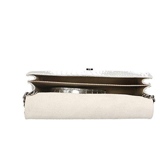 a Vera Made Borsa Spalla con in 30x20x10 Borsetta Chicca Italy Clutch Pelle da Cocco in Cm Argento Donna Stampa Borse Tracolla cSIIqgZOf