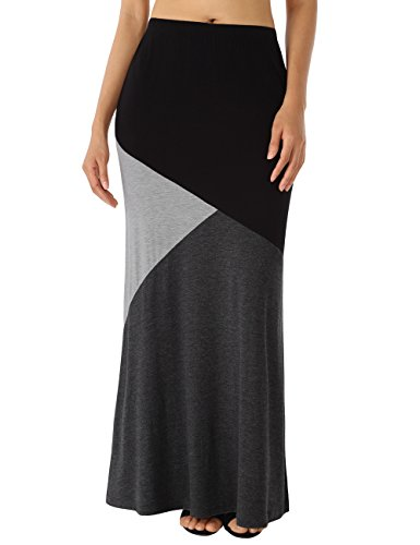 WAJAT-Womens-Color-Block-High-Waist-Long-Maxi-Skirt-with-Pockets