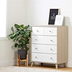 Bedroom South Shore Yodi 5-Drawer Chest-Soft Elm and Pure White