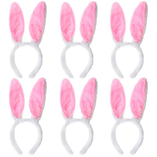 Toptie 6 PCS Bunny Ears Headbands Plush Rabbit Hairbands Kids Adults Party Decoration